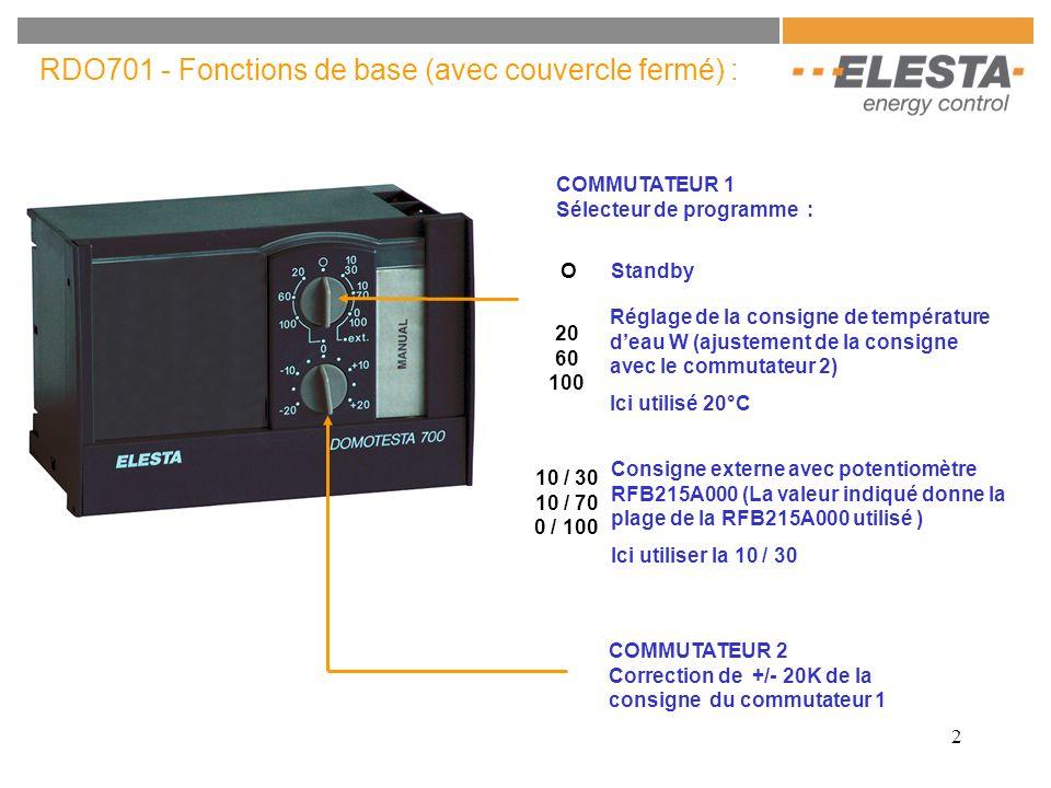 3 RDO701 - Fonctions avancées (couvercle ouvert) : Xmax Température maximum de l eau Plage : 20..120°C Xp Bande proportionnelle du signal 3 points Plage : 2..30K si Xp = 2K le signal de commande de la vanne sera en 2 points TOR XE Consigne de température extérieur de début de la compensation Plage : 0..30°C E Coefficient de compensation en fonction de la température extérieur Plage : 0..6 Xs2 Seconde consigne de température activé par le contact S5 Plage : 0..120°C