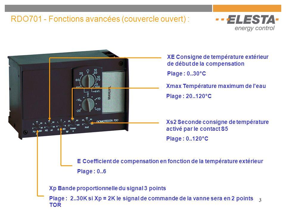 3 RDO701 - Fonctions avancées (couvercle ouvert) : Xmax Température maximum de l'eau Plage : 20..120°C Xp Bande proportionnelle du signal 3 points Pla