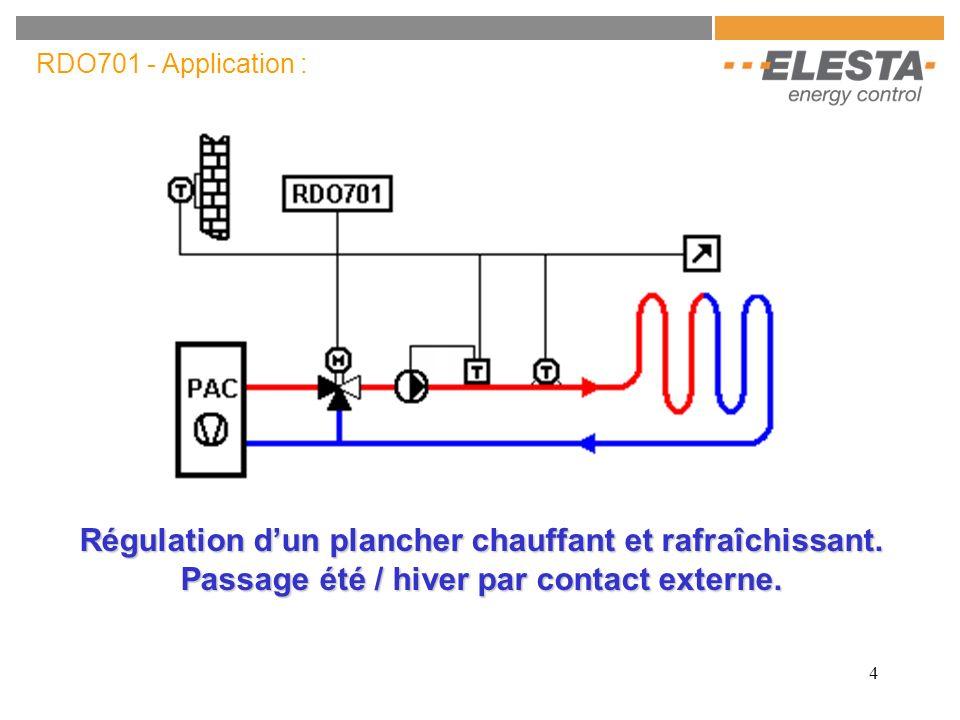 4 RDO701 - Application : Régulation dun plancher chauffant et rafraîchissant. Passage été / hiver par contact externe.