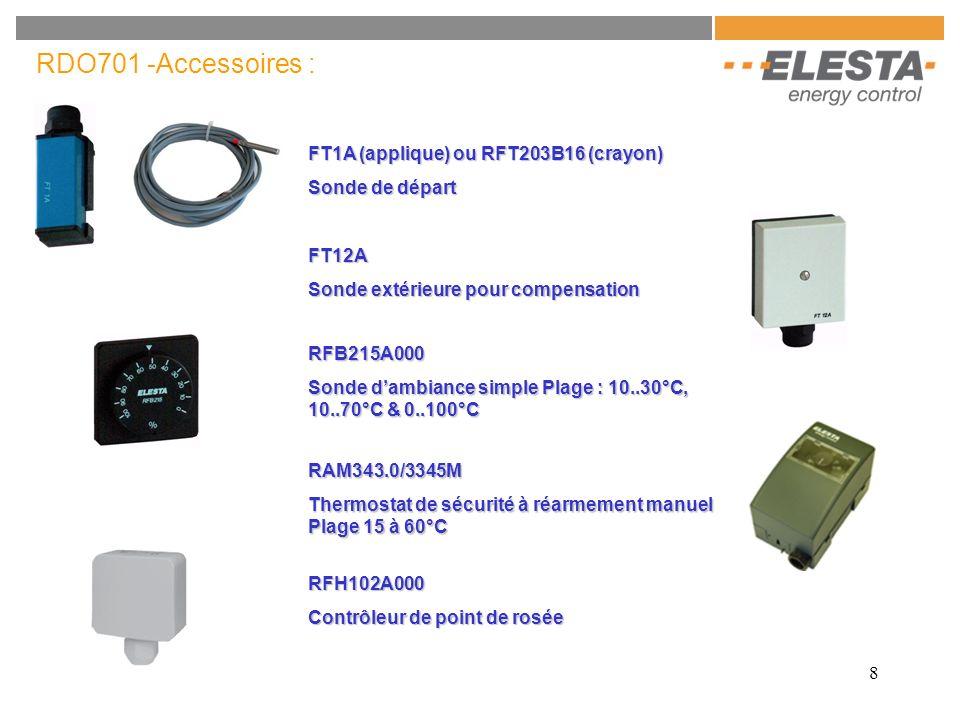 8 RFB215A000 Sonde dambiance simple Plage : 10..30°C, 10..70°C & 0..100°C FT1A (applique) ou RFT203B16 (crayon) Sonde de départ RDO701 -Accessoires :