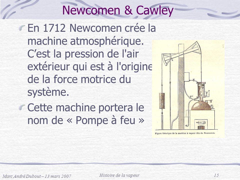 Marc André Dubout – 13 mars 2007 Histoire de la vapeur15 Newcomen & Cawley En 1712 Newcomen crée la machine atmosphérique. Cest la pression de l'air e