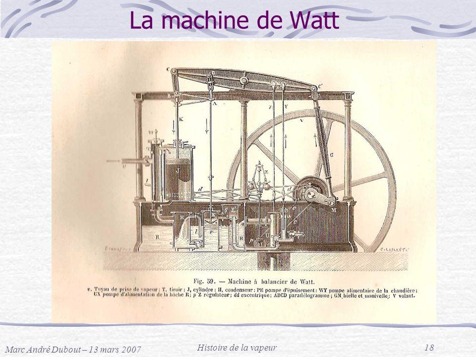 Marc André Dubout – 13 mars 2007 Histoire de la vapeur18 La machine de Watt