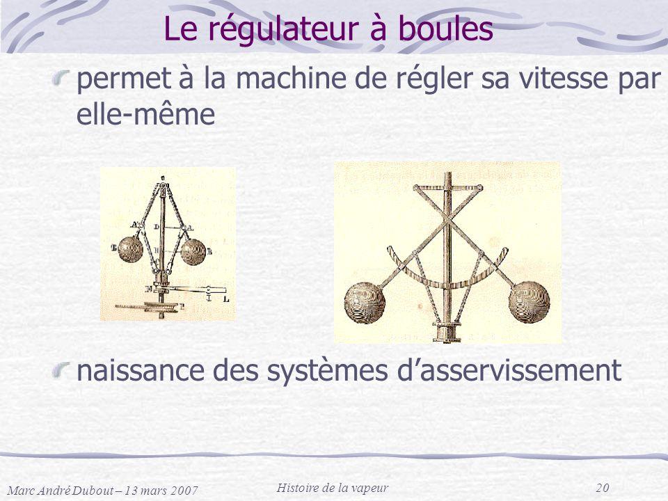 Marc André Dubout – 13 mars 2007 Histoire de la vapeur20 Le régulateur à boules permet à la machine de régler sa vitesse par elle-même naissance des s