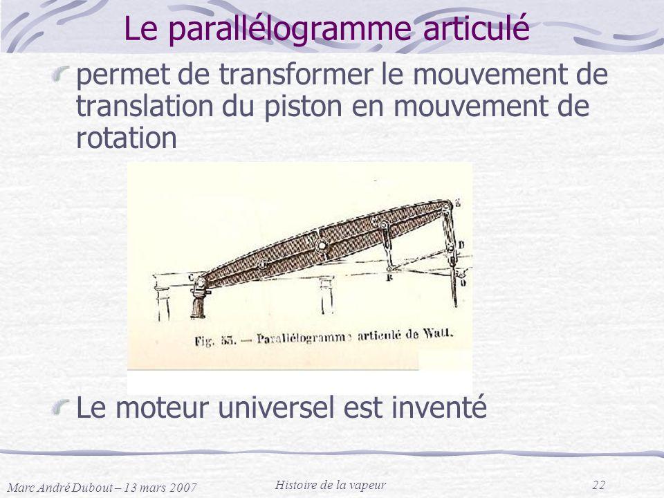 Marc André Dubout – 13 mars 2007 Histoire de la vapeur22 Le parallélogramme articulé permet de transformer le mouvement de translation du piston en mo