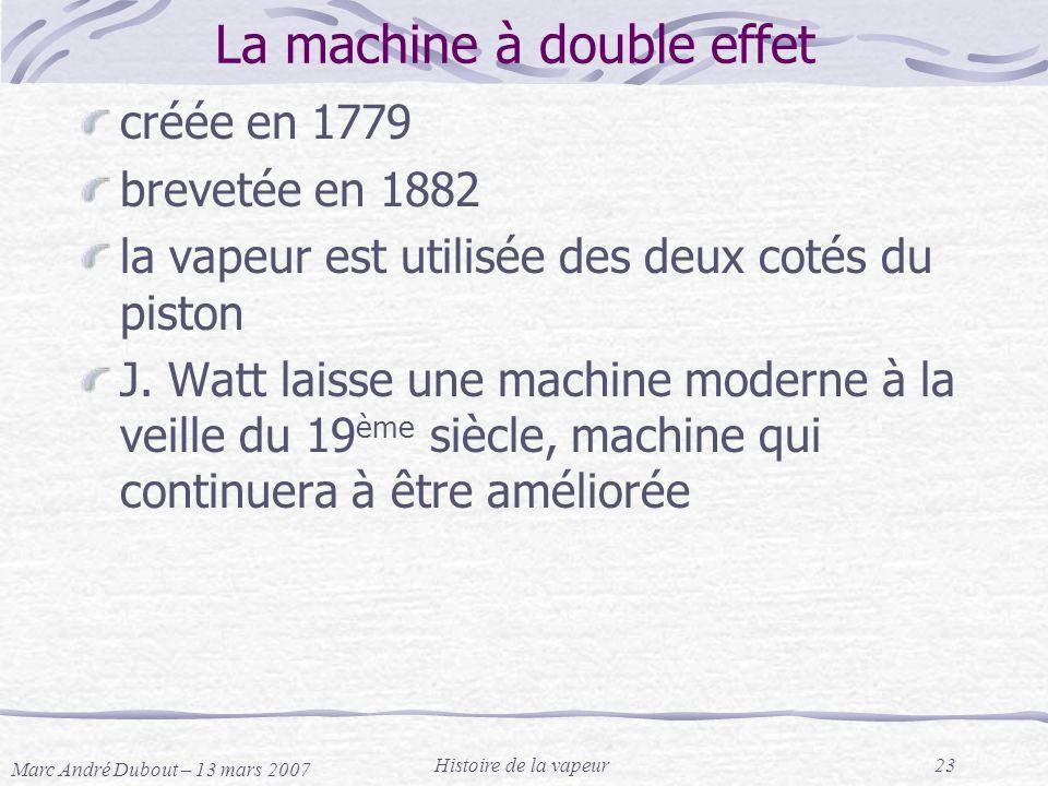 Marc André Dubout – 13 mars 2007 Histoire de la vapeur23 La machine à double effet créée en 1779 brevetée en 1882 la vapeur est utilisée des deux coté