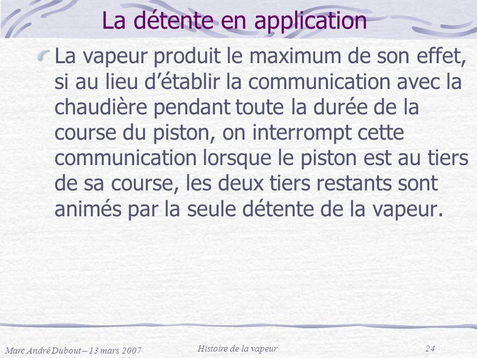 Marc André Dubout – 13 mars 2007 Histoire de la vapeur24 La détente en application La vapeur produit le maximum de son effet, si au lieu détablir la c