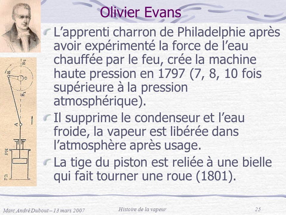 Marc André Dubout – 13 mars 2007 Histoire de la vapeur25 Olivier Evans Lapprenti charron de Philadelphie après avoir expérimenté la force de leau chau