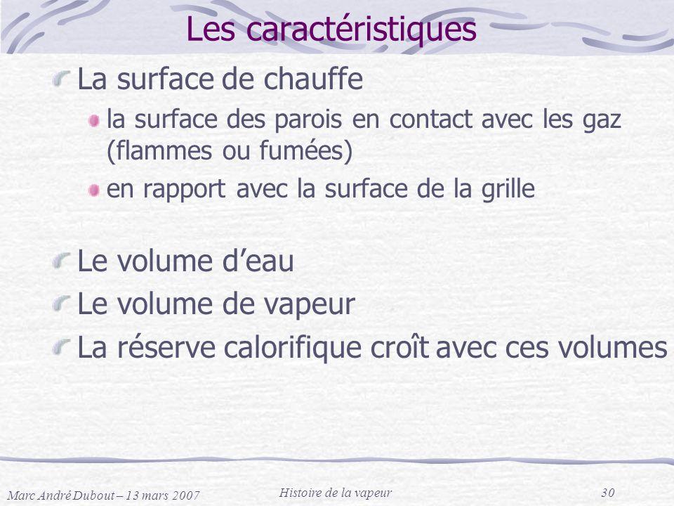 Marc André Dubout – 13 mars 2007 Histoire de la vapeur30 Les caractéristiques La surface de chauffe la surface des parois en contact avec les gaz (fla