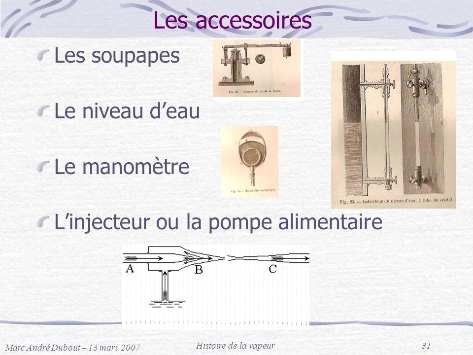 Marc André Dubout – 13 mars 2007 Histoire de la vapeur31 Les accessoires Les soupapes Le niveau deau Le manomètre Linjecteur ou la pompe alimentaire