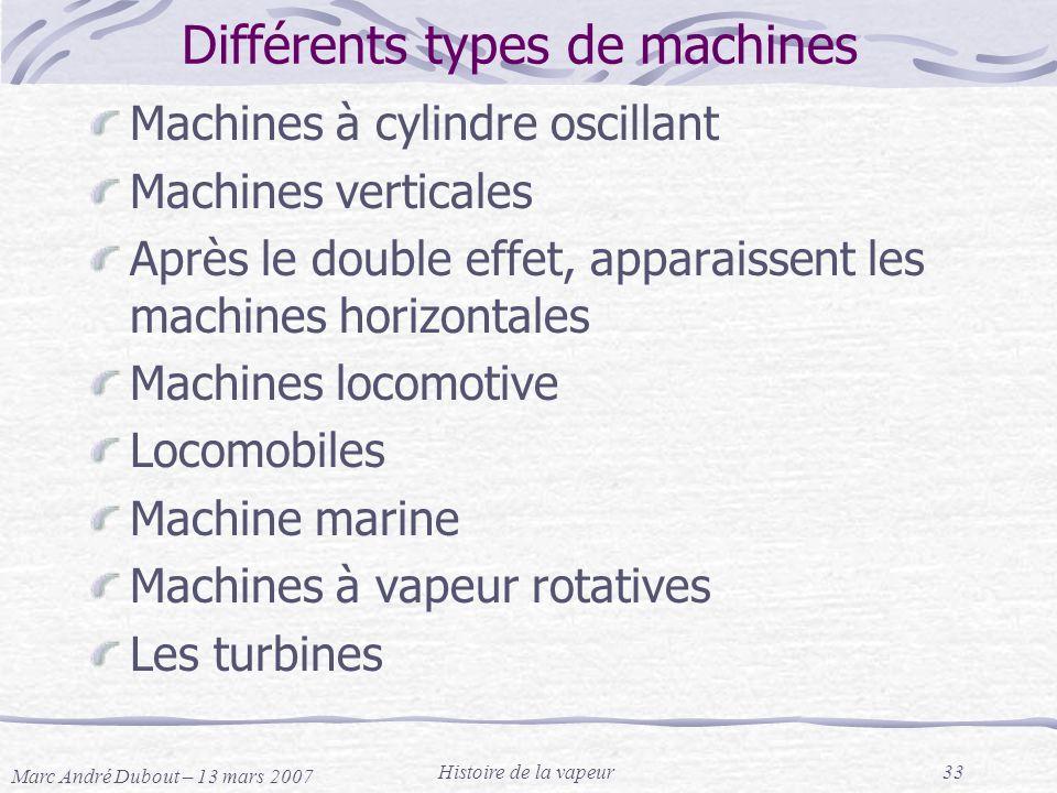 Marc André Dubout – 13 mars 2007 Histoire de la vapeur33 Différents types de machines Machines à cylindre oscillant Machines verticales Après le doubl