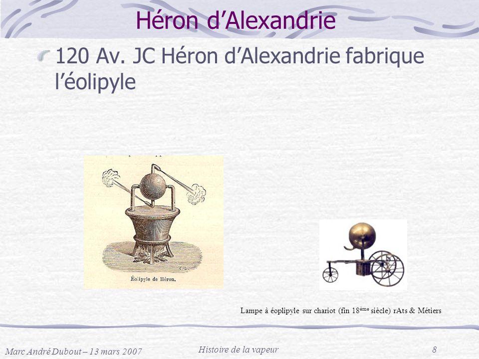 Marc André Dubout – 13 mars 2007 Histoire de la vapeur8 Héron dAlexandrie 120 Av. JC Héron dAlexandrie fabrique léolipyle Lampe à éoplipyle sur chario