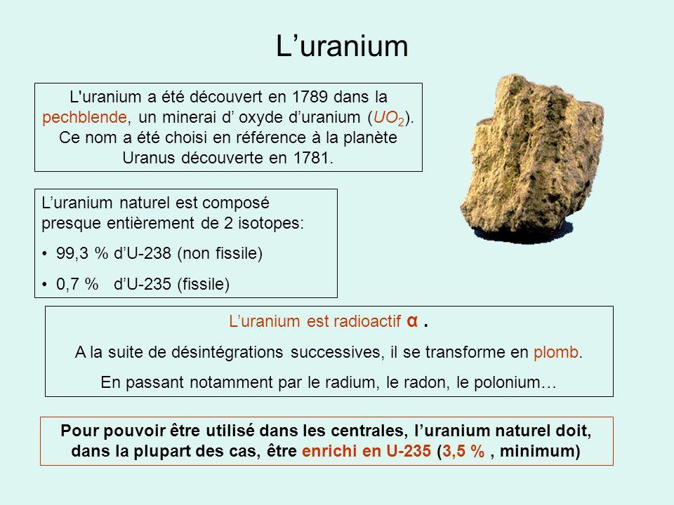 Luranium L'uranium a été découvert en 1789 dans la pechblende, un minerai d oxyde duranium (UO 2 ). Ce nom a été choisi en référence à la planète Uran