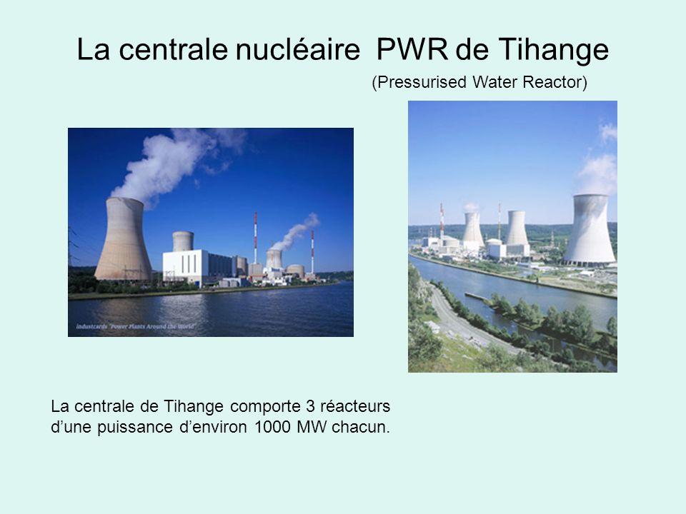 La centrale nucléaire PWR de Tihange (Pressurised Water Reactor) La centrale de Tihange comporte 3 réacteurs dune puissance denviron 1000 MW chacun.