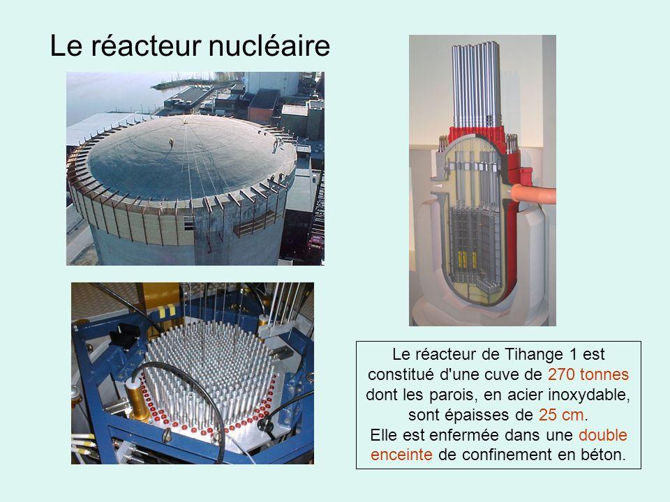 Le réacteur nucléaire Le réacteur de Tihange 1 est constitué d'une cuve de 270 tonnes dont les parois, en acier inoxydable, sont épaisses de 25 cm. El