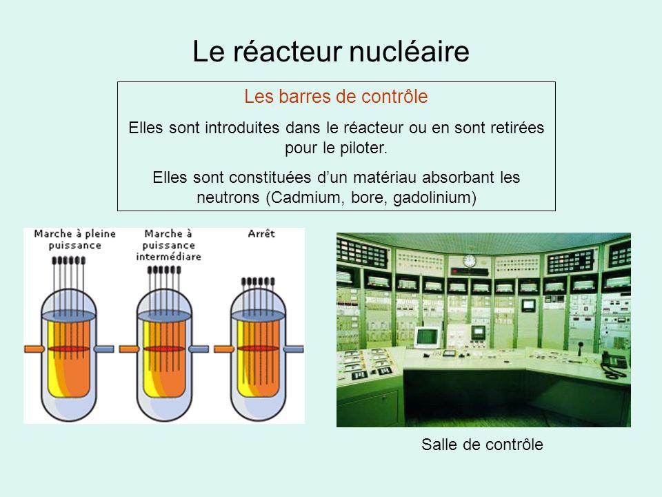 Le réacteur nucléaire Les barres de contrôle Elles sont introduites dans le réacteur ou en sont retirées pour le piloter. Elles sont constituées dun m