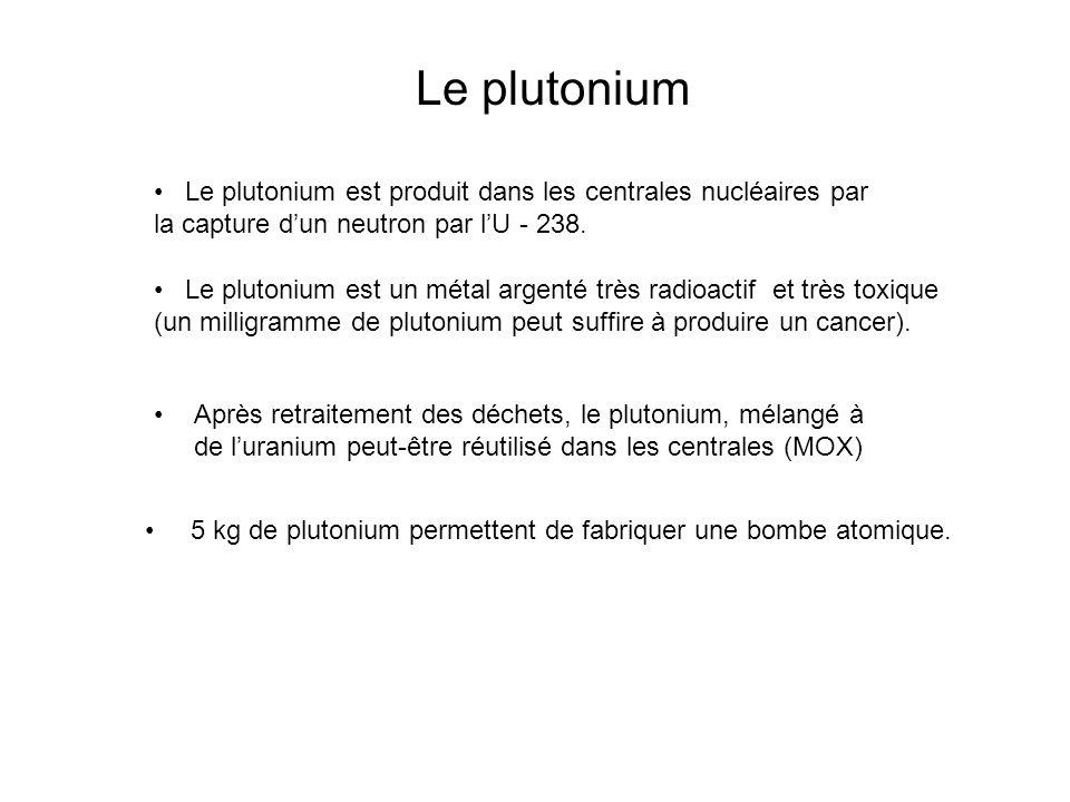 Le plutonium Le plutonium est produit dans les centrales nucléaires par la capture dun neutron par lU - 238. Le plutonium est un métal argenté très ra