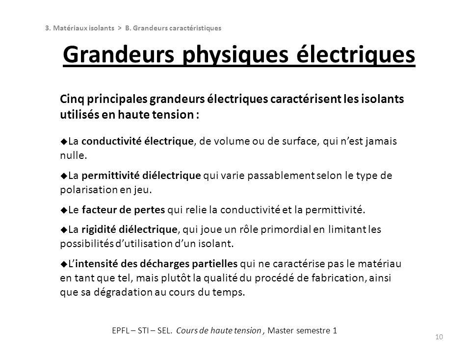 10 Cinq principales grandeurs électriques caractérisent les isolants utilisés en haute tension : La conductivité électrique, de volume ou de surface,