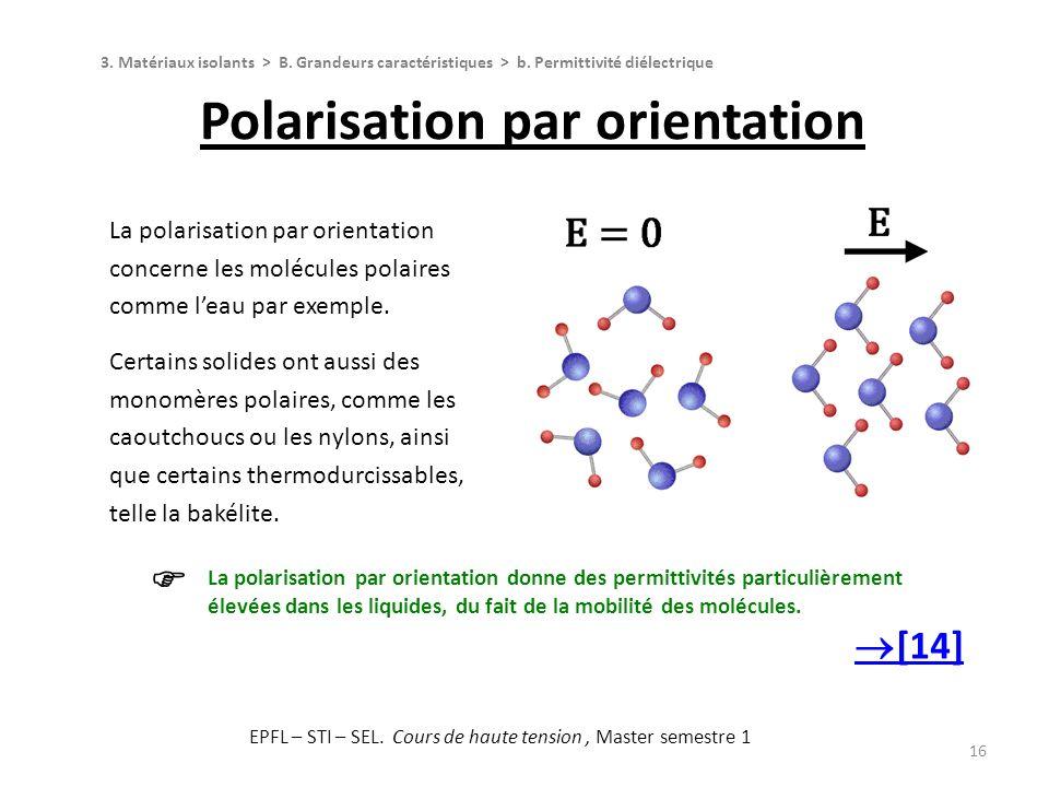 16 La polarisation par orientation concerne les molécules polaires comme leau par exemple. Certains solides ont aussi des monomères polaires, comme le