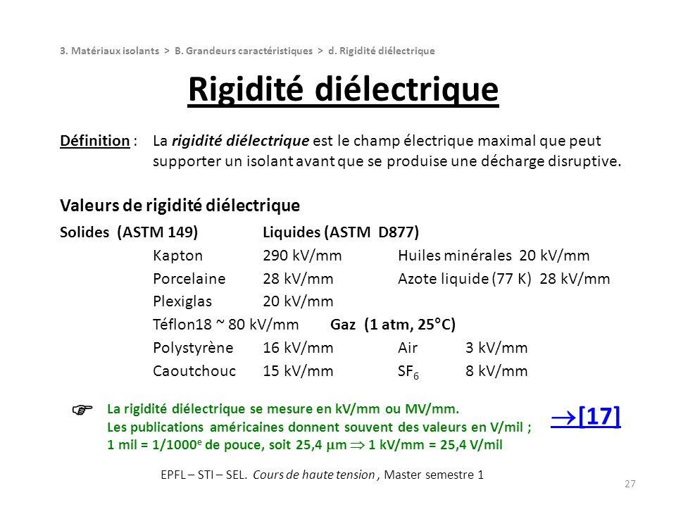 27 Définition :La rigidité diélectrique est le champ électrique maximal que peut supporter un isolant avant que se produise une décharge disruptive. V