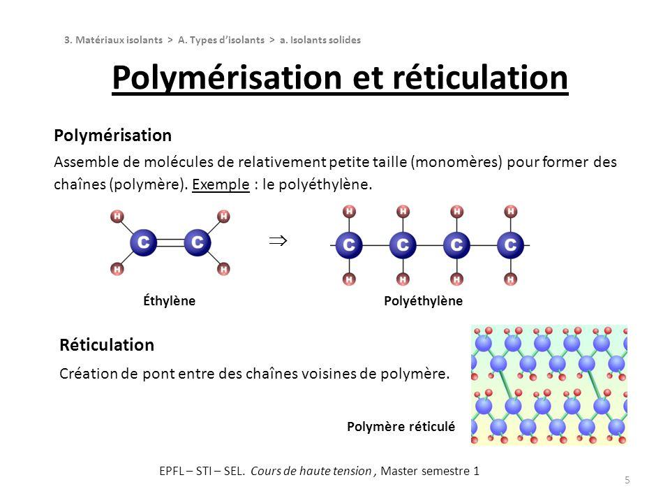 5 Polymérisation Assemble de molécules de relativement petite taille (monomères) pour former des chaînes (polymère). Exemple : le polyéthylène. Polymé