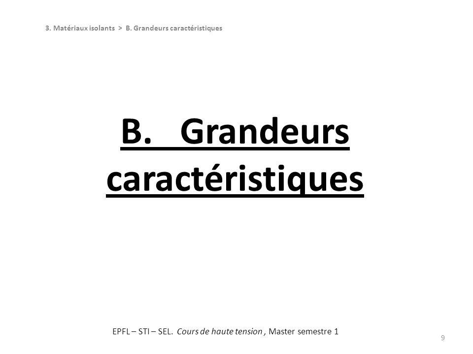 B. Grandeurs caractéristiques 9 3. Matériaux isolants > B. Grandeurs caractéristiques EPFL – STI – SEL. Cours de haute tension, Master semestre 1