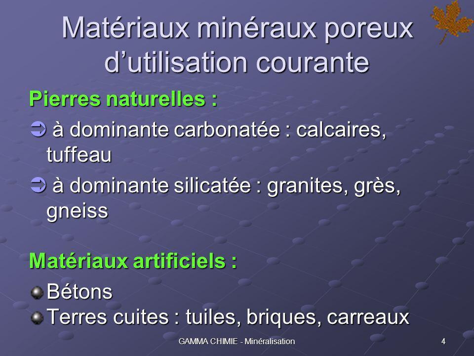 3GAMMA CHIMIE - Minéralisation La Minéralisation est un procédé destiné aux matériaux minéraux poreux utilisés, notamment et essentiellement, dans la construction dédifices et douvrages très divers : habitations, réservoirs, statues, etc.