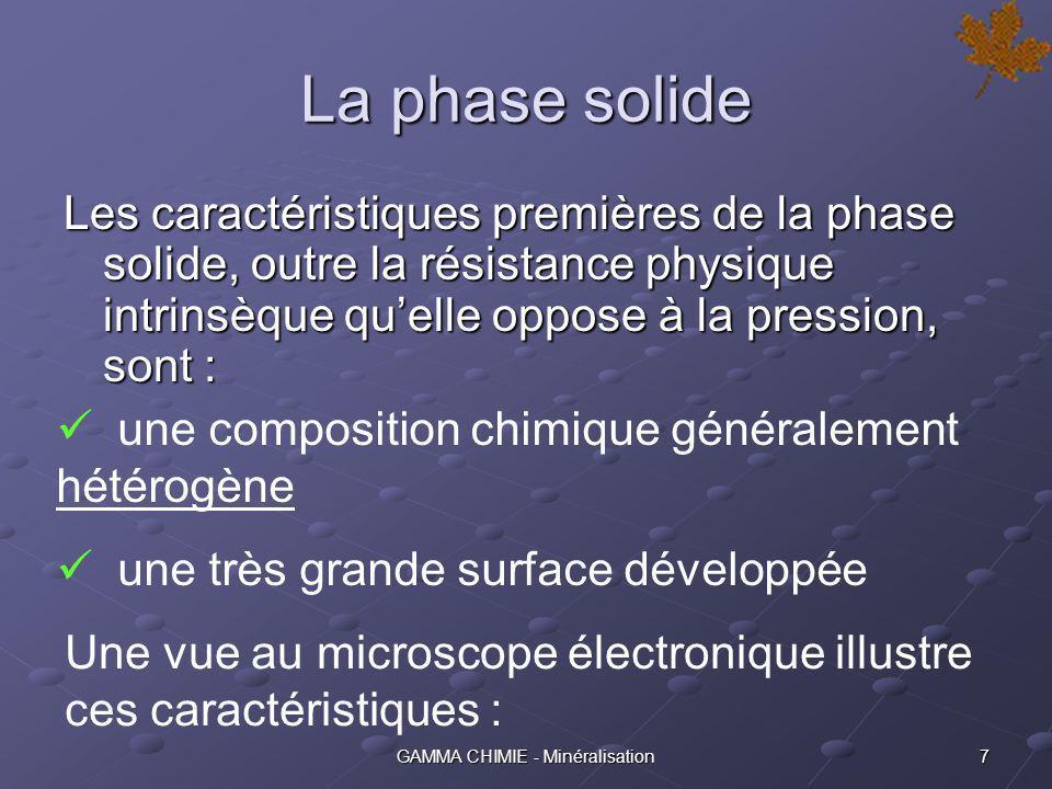 6GAMMA CHIMIE - Minéralisation Examen des trois phases Selon la nature et/ou la provenance du matériau minéral poreux, les proportions relatives des trois phases peuvent être très différentes :