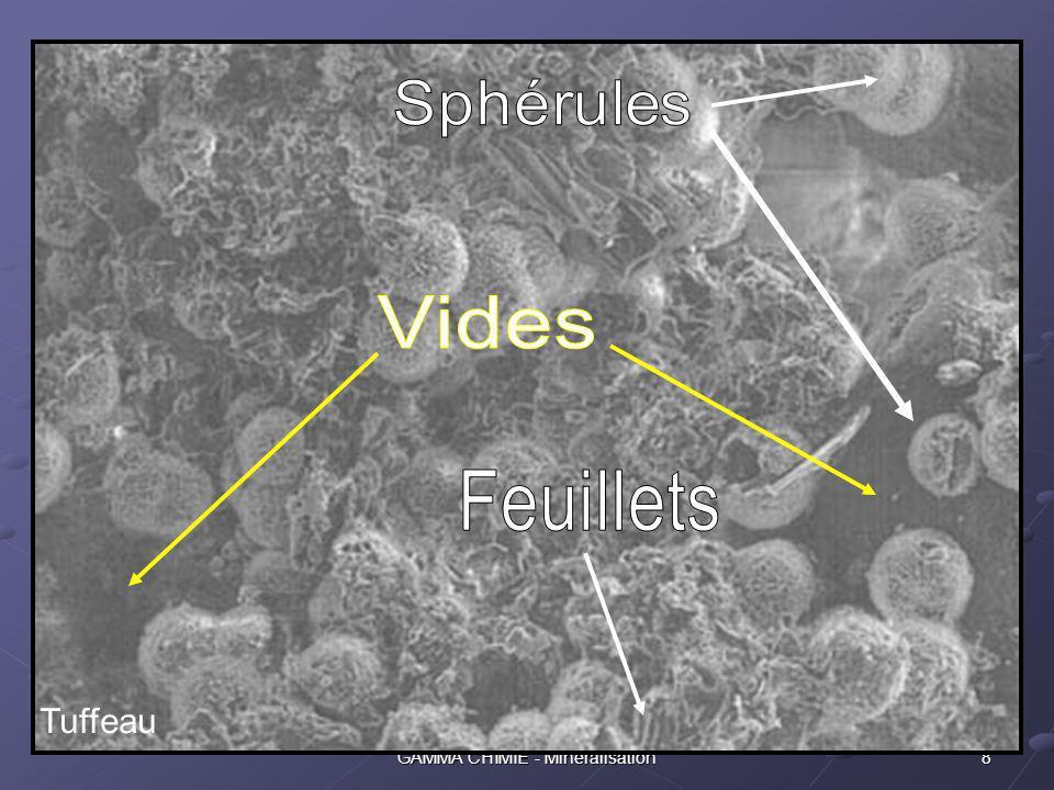 7GAMMA CHIMIE - Minéralisation La phase solide Les caractéristiques premières de la phase solide, outre la résistance physique intrinsèque quelle oppose à la pression, sont : une composition chimique généralement hétérogène une très grande surface développée Une vue au microscope électronique illustre ces caractéristiques :