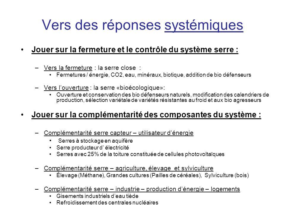 Vers des réponses systémiques Jouer sur la fermeture et le contrôle du système serre : –Vers la fermeture : la serre close : Fermetures / énergie, CO2