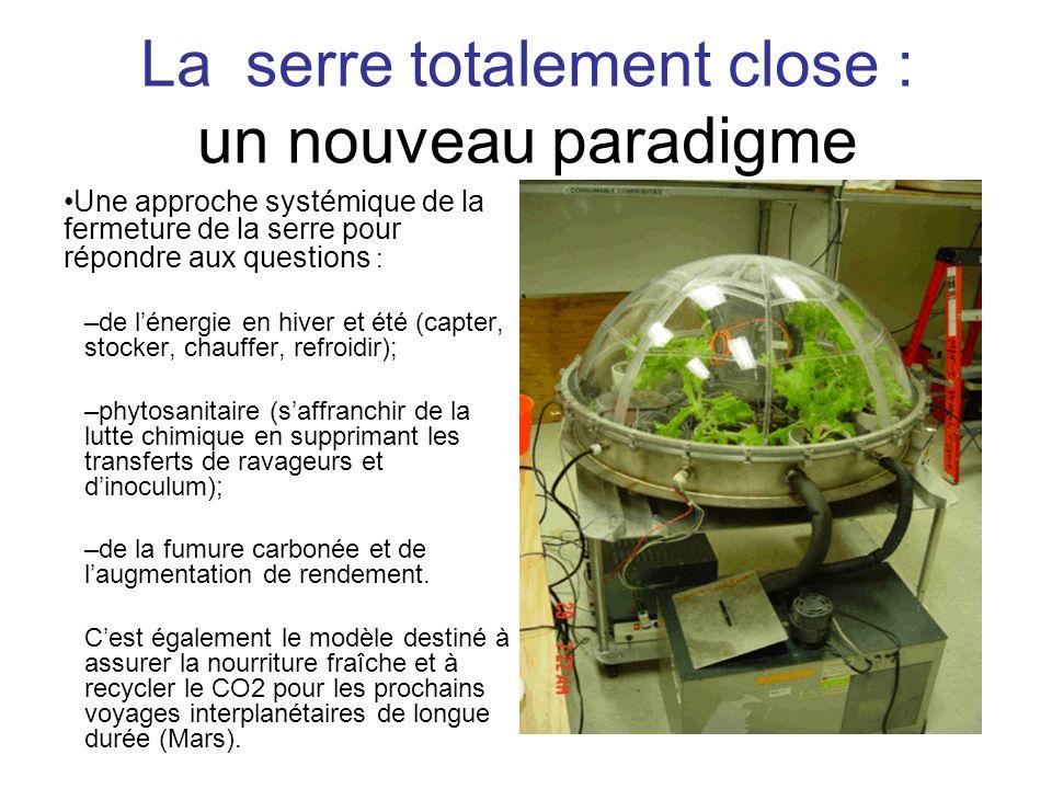 Laserre totalement close : un nouveau paradigme Une approche systémique de la fermeture de la serre pour répondre aux questions : –de lénergie en hive