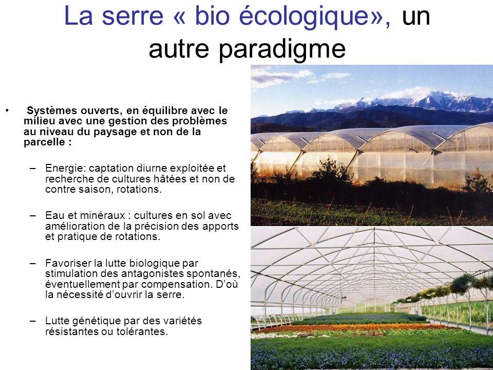 La serre « bio écologique», un autre paradigme Systèmes ouverts, en équilibre avec le milieu avec une gestion des problèmes au niveau du paysage et no
