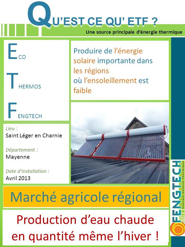 10 Une source principale dénergie thermique E CO T HERMOS F ENGTEC 1° PRODUIT : ETF Capter le rayonnement solaire pour produire de lénergie thermique
