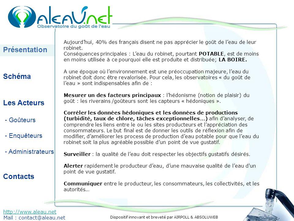 Dispositif innovant et breveté par AIRPOLL & ABSOLUWEB Présentation Schéma Les Acteurs - Goûteurs - Enquêteurs - Administrateurs Contacts http://www.aleau.net Mail : contact@aleau.net Aujourdhui, 40% des français disent ne pas apprécier le goût de leau de leur robinet.