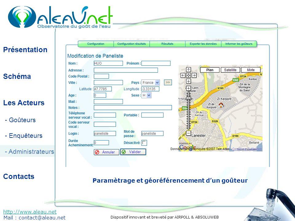 Dispositif innovant et breveté par AIRPOLL & ABSOLUWEB Présentation Schéma Les Acteurs - Goûteurs - Enquêteurs - Administrateurs Contacts http://www.aleau.net Mail : contact@aleau.net Paramètrage et géoréférencement dun goûteur