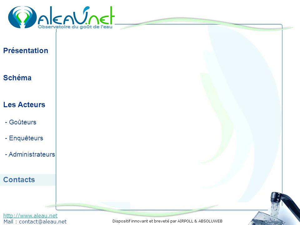 Dispositif innovant et breveté par AIRPOLL & ABSOLUWEB Présentation Schéma Les Acteurs - Goûteurs - Enquêteurs - Administrateurs Contacts http://www.aleau.net Mail : contact@aleau.net