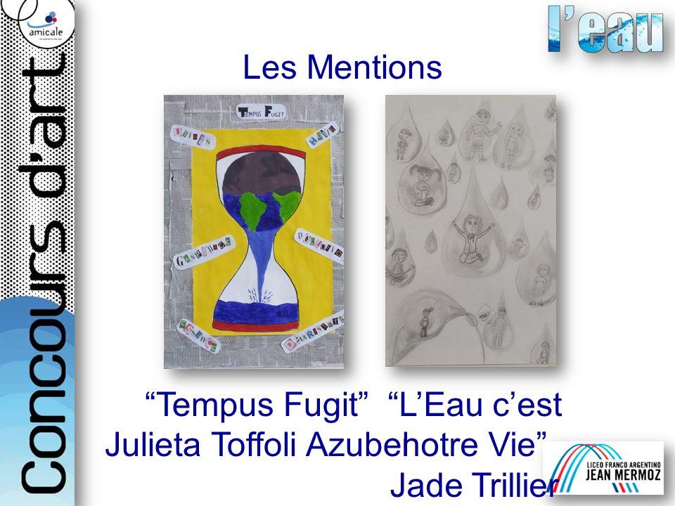 Les Mentions LEau cest notre Vie Jade Trillier Tempus Fugit Julieta Toffoli Azubel