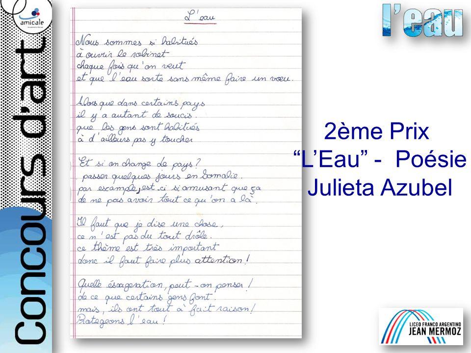 2ème Prix LEau - Poésie Julieta Azubel