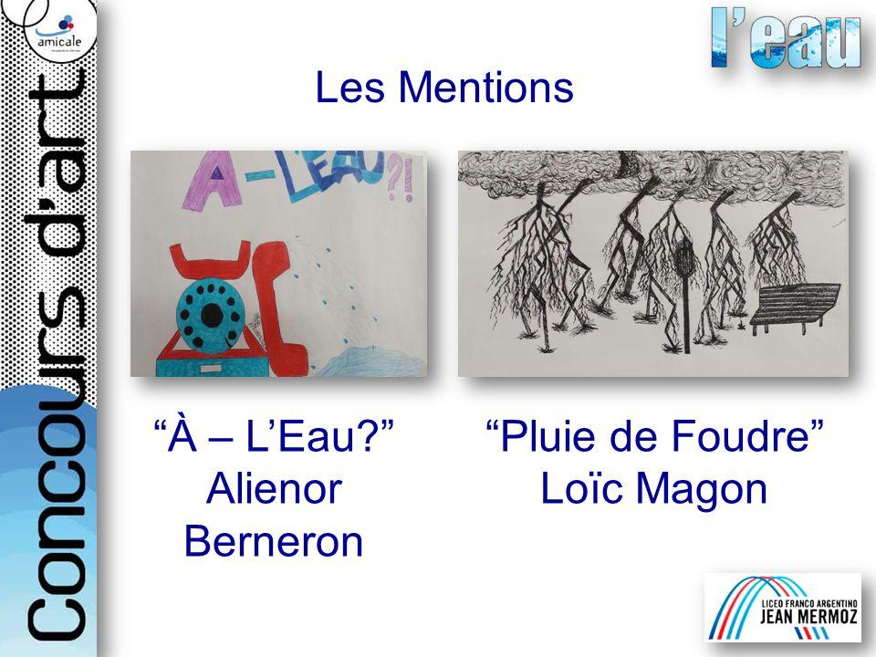 Les Mentions À – LEau? Alienor Berneron Pluie de Foudre Loïc Magon