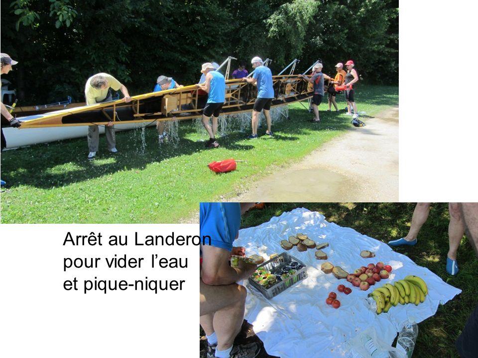 Arrêt au Landeron pour vider leau et pique-niquer