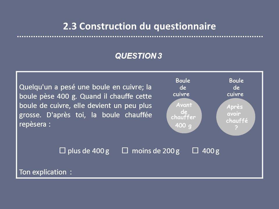 2.3 Construction du questionnaire Quelqu un a pesé une boule en cuivre; la boule pèse 400 g.