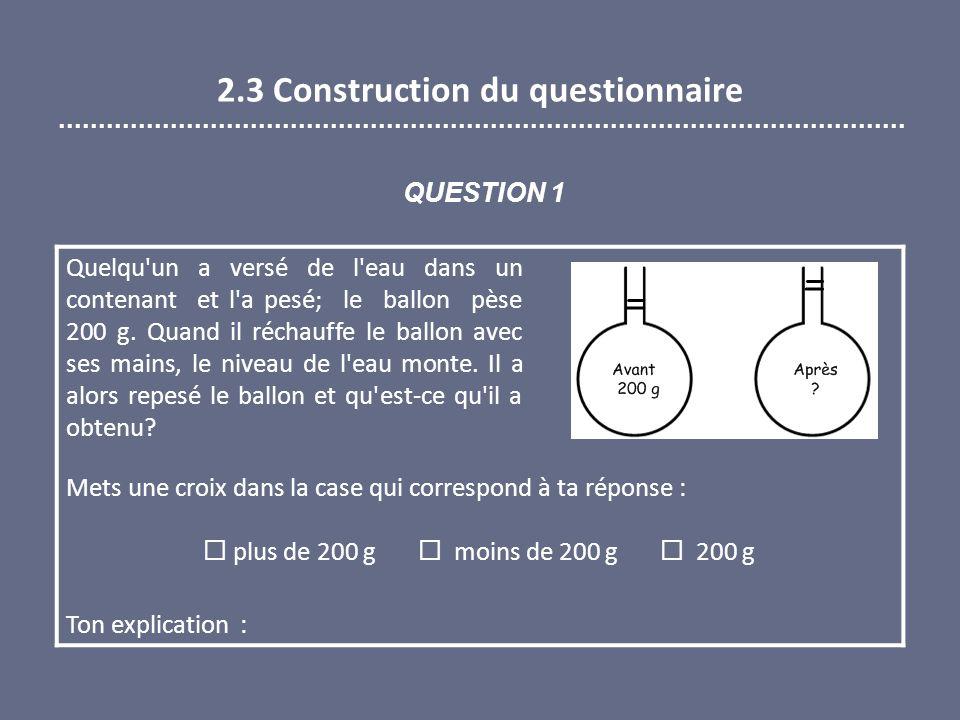 2.3 Construction du questionnaire Quelqu'un a versé de l'eau dans un contenant et l'a pesé; le ballon pèse 200 g. Quand il réchauffe le ballon avec se