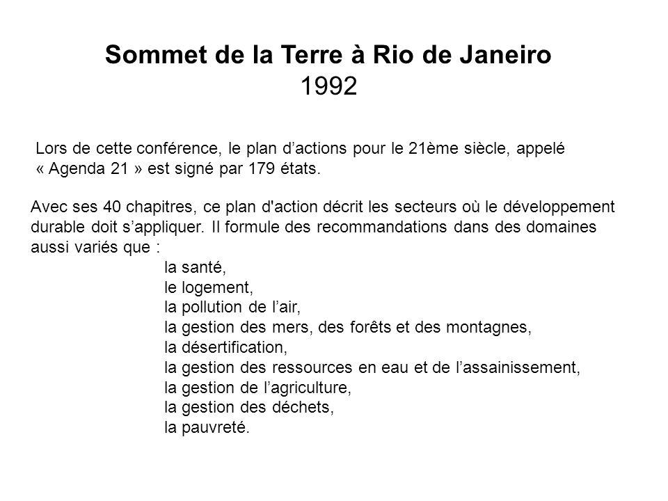 Sommet de la Terre à Rio de Janeiro 1992 Lors de cette conférence, le plan dactions pour le 21ème siècle, appelé « Agenda 21 » est signé par 179 états