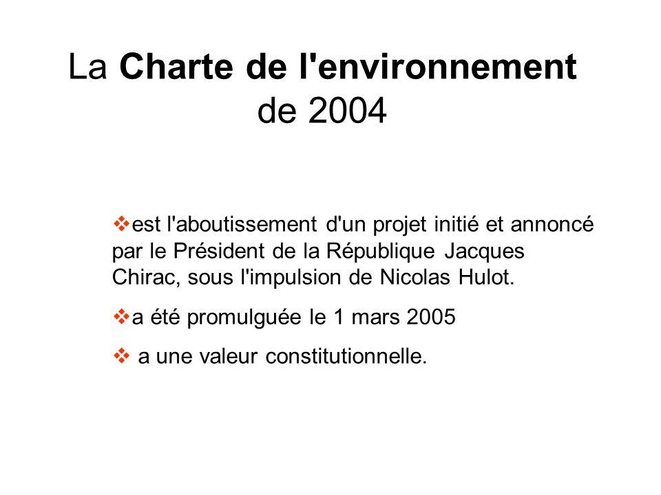 La Charte de l'environnement de 2004 est l'aboutissement d'un projet initié et annoncé par le Président de la République Jacques Chirac, sous l'impuls