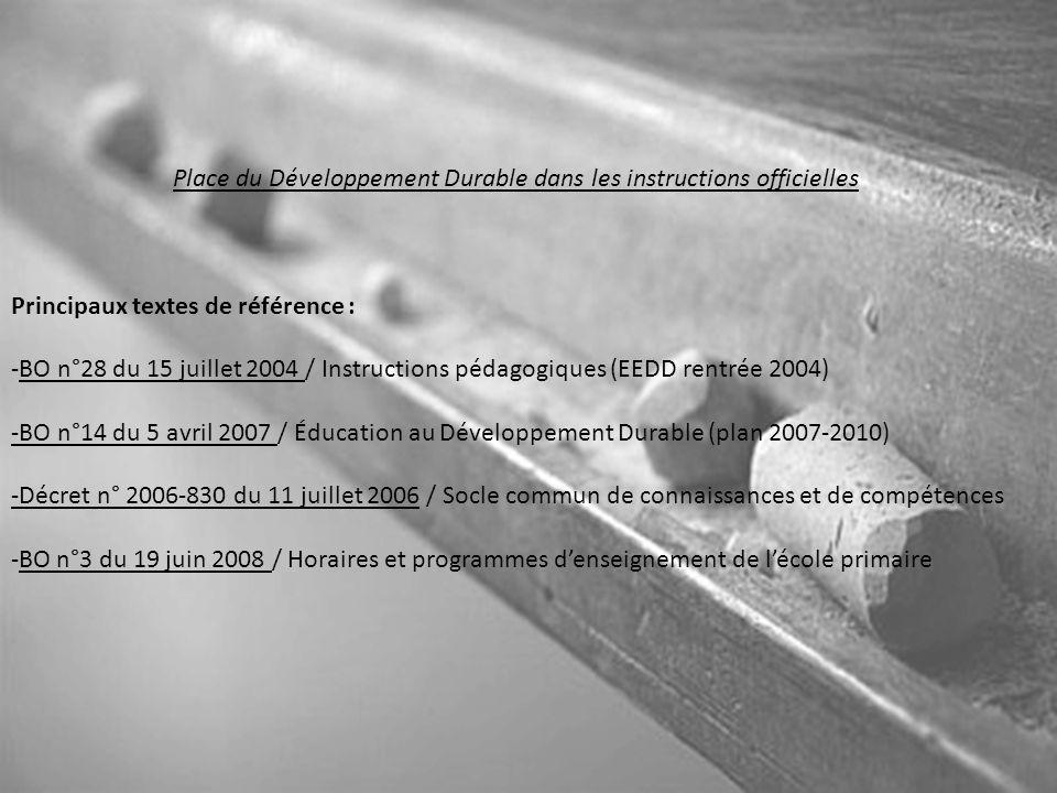 Place du Développement Durable dans les instructions officielles Principaux textes de référence : -BO n°28 du 15 juillet 2004 / Instructions pédagogiq