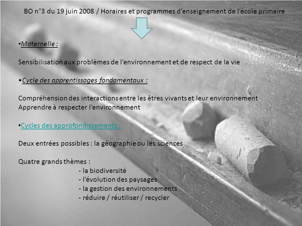BO n°3 du 19 juin 2008 / Horaires et programmes denseignement de lécole primaire Maternelle : Sensibilisation aux problèmes de lenvironnement et de re