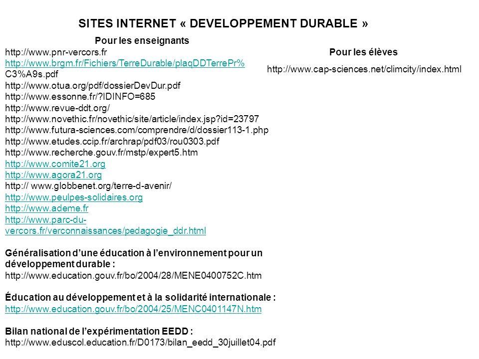 Pour les enseignants http://www.pnr-vercors.fr http://www.brgm.fr/Fichiers/TerreDurable/plaqDDTerrePr% C3%A9s.pdf http://www.otua.org/pdf/dossierDevDu