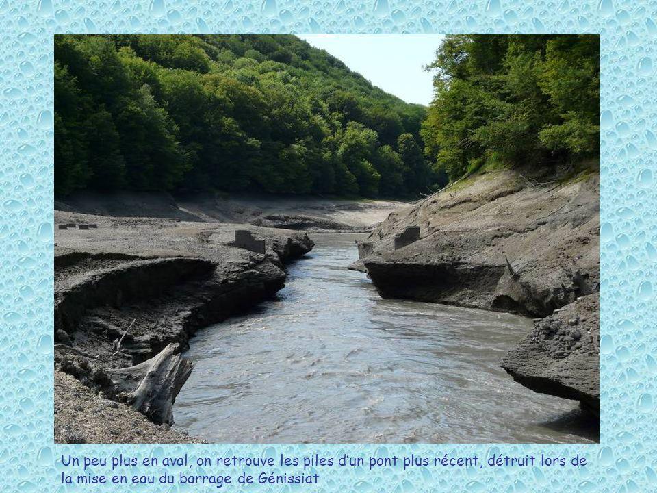 Un peu plus en aval, on retrouve les piles dun pont plus récent, détruit lors de la mise en eau du barrage de Génissiat