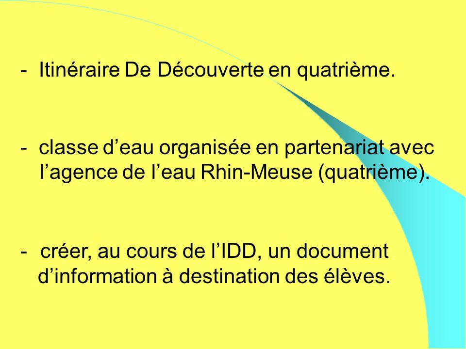 - Itinéraire De Découverte en quatrième. - classe deau organisée en partenariat avec lagence de leau Rhin-Meuse (quatrième). - créer, au cours de lIDD