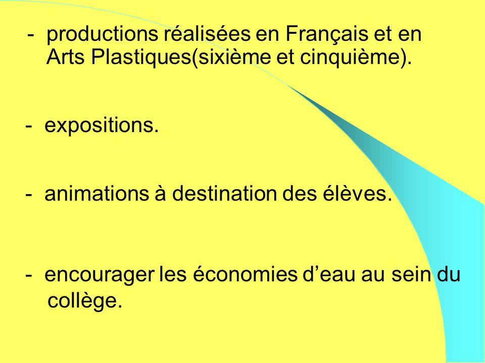 - productions réalisées en Français et en Arts Plastiques(sixième et cinquième). - expositions. - animations à destination des élèves. - encourager le