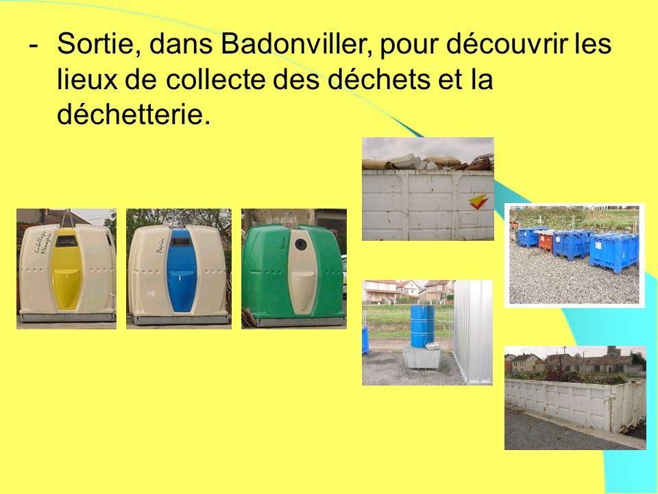 -Sortie, dans Badonviller, pour découvrir les lieux de collecte des déchets et la déchetterie.